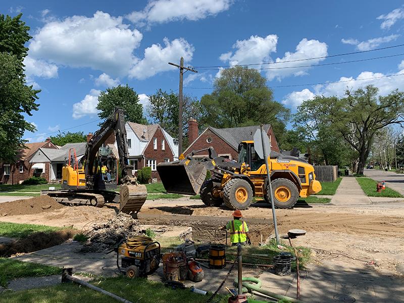 Detroit Water and Sewerage Department water main repair