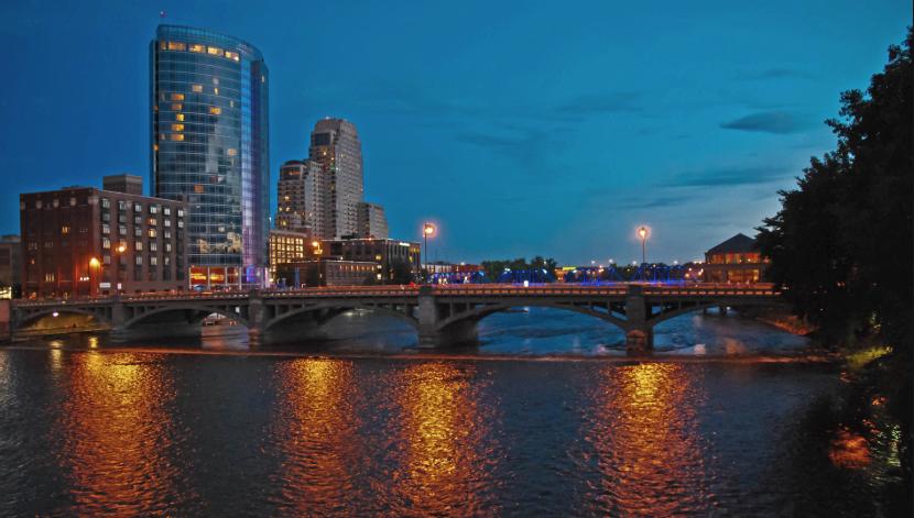 Grand Rapids skyline at night