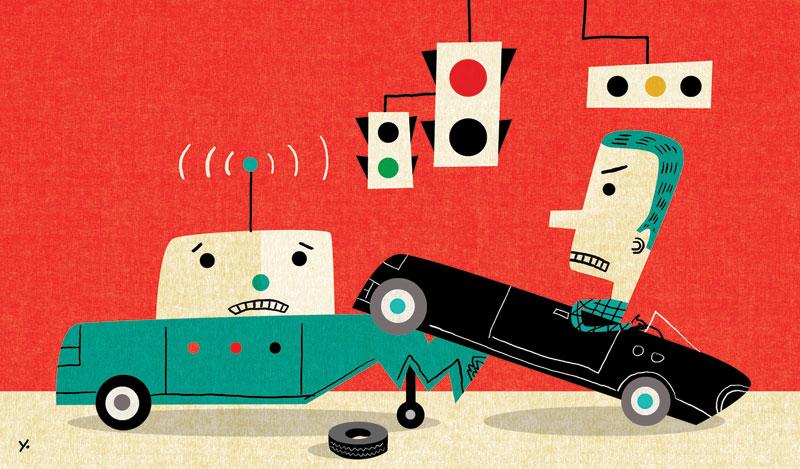 autonomous vehicle car accident illustration