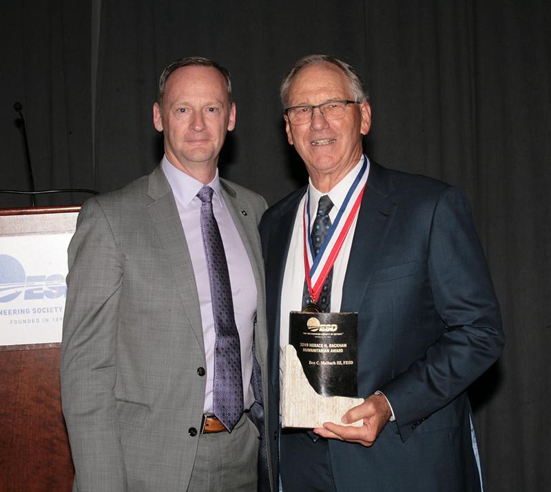 Ben Maibach III receiving award from Daniel E. Nicholson