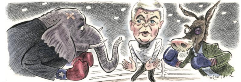 Republican vs. Democrat boxing match cartoon