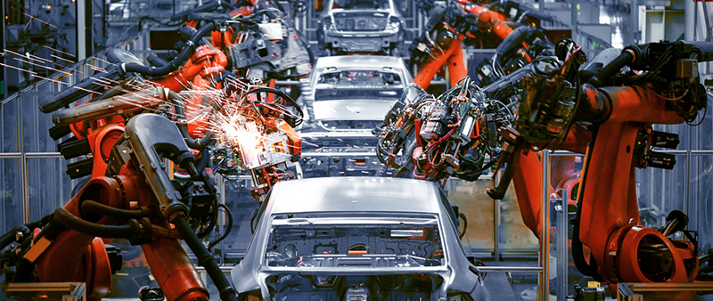 robots working on automobile assembly line