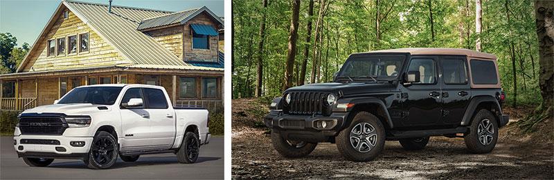 2020 the Ram 1500 Night Edition, Jeep Wrangler Black and Tan