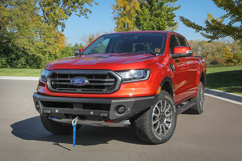 Winch-capable front bumper on Ford Ranger