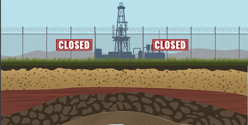 U.S. Chamber of Commerce illustration of closed fracking facility