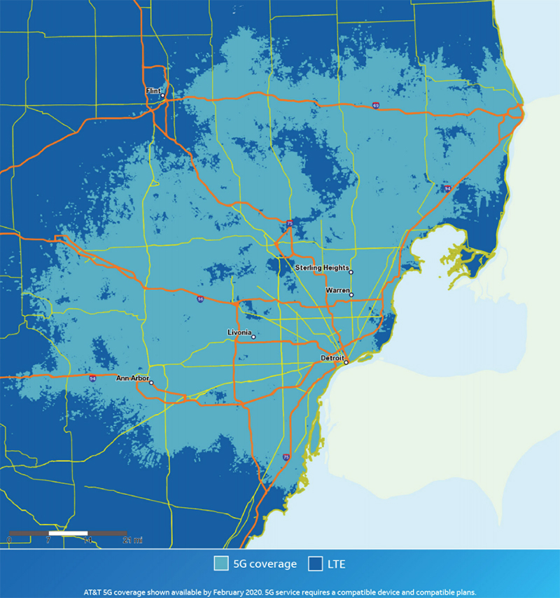 AT&T 5G coverage for metro Detroit