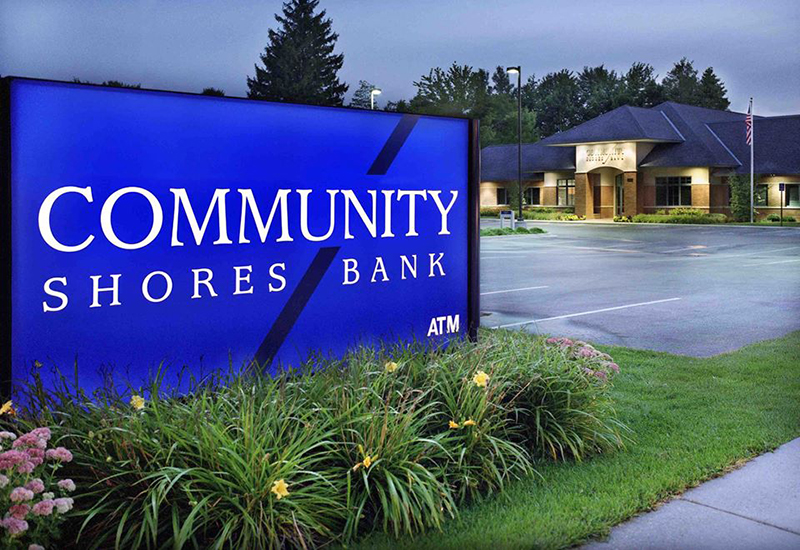 Community Shores Bank Corp. sign
