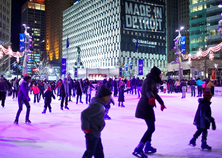 people skating on Frankenmuth Rink at Campus Martius Park
