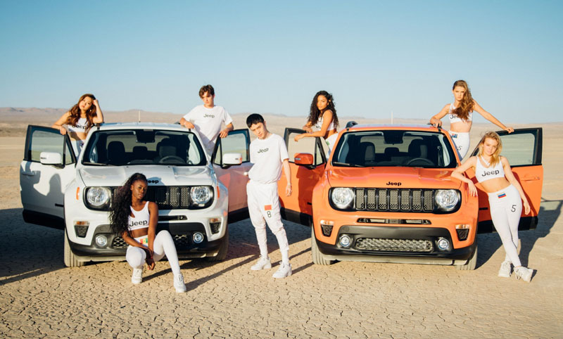 Now United members with Jeep Renegades