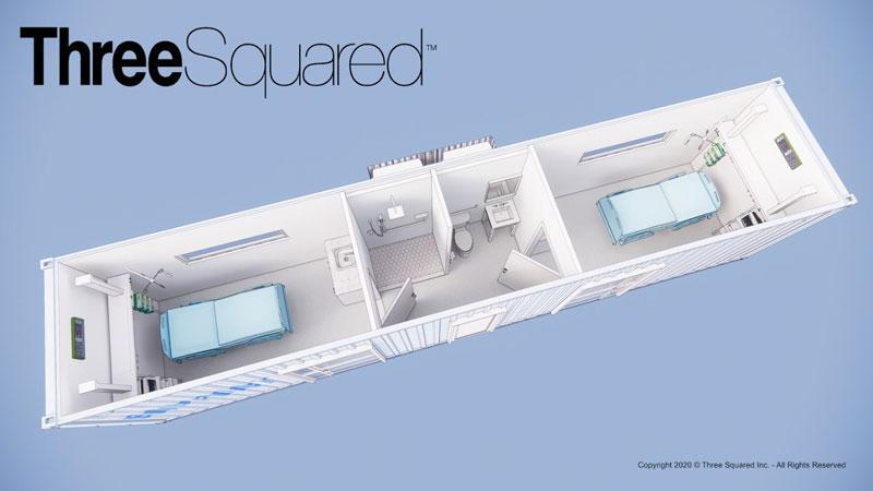 Three Squared COVID-19 care cargo container