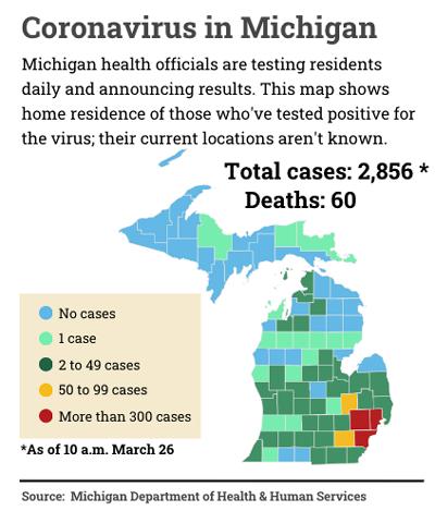 map by Bridge of Michigan COVID-19 cases