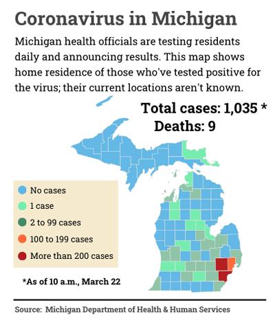 Michigan coronavirus map
