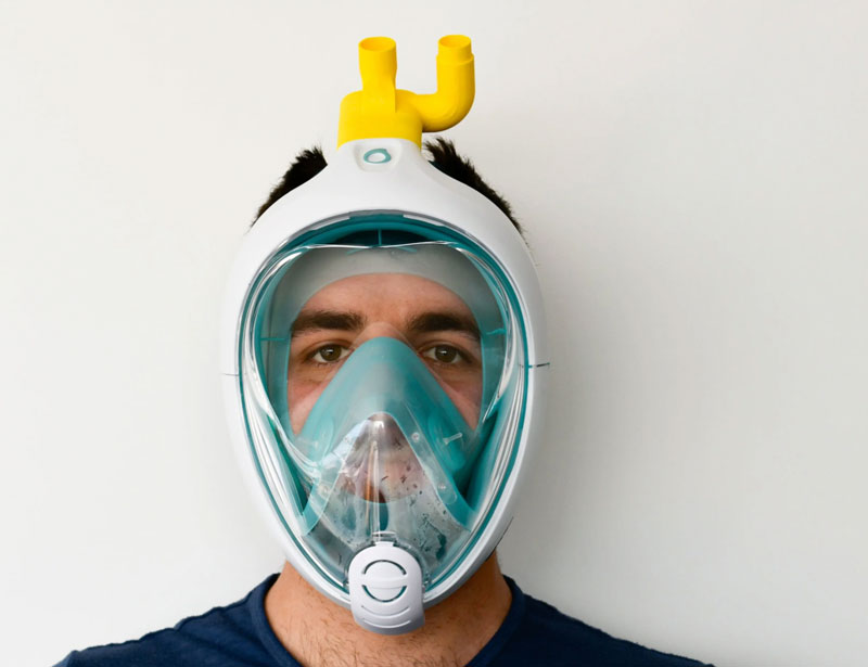 man wearing 3-D printed ventilator mask