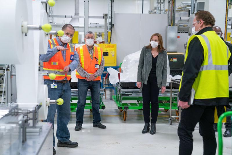 Mary Barra in GM Warren facility