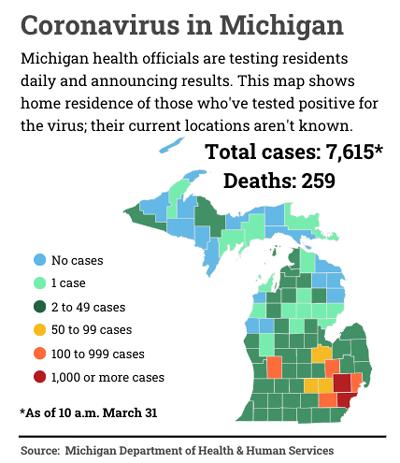 map of Michigan COVID-19 cases from Bridge