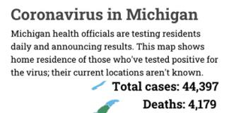 Michigan map of coronavirus cases