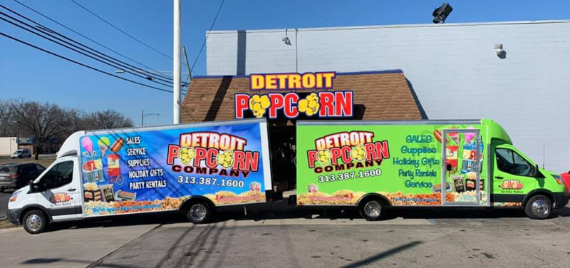 Detroit Popcorn Co. building and trucks