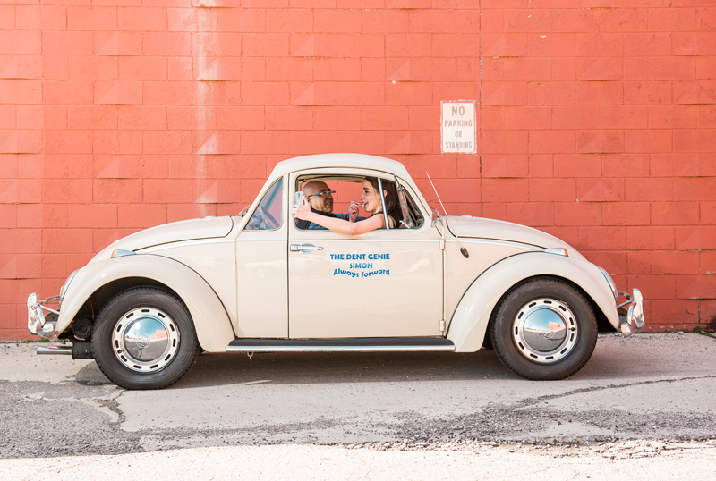 VW Beetle with two front ends