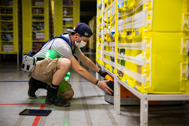 Amazon worker in delivery facility