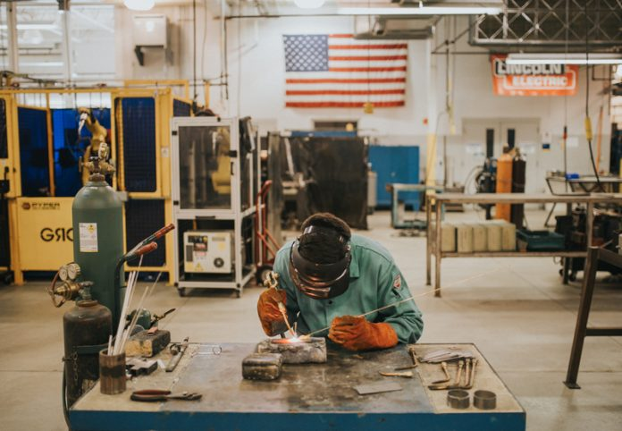 Student working at Grand Rapids Community College