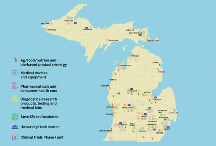 map of Michigan bio-industries