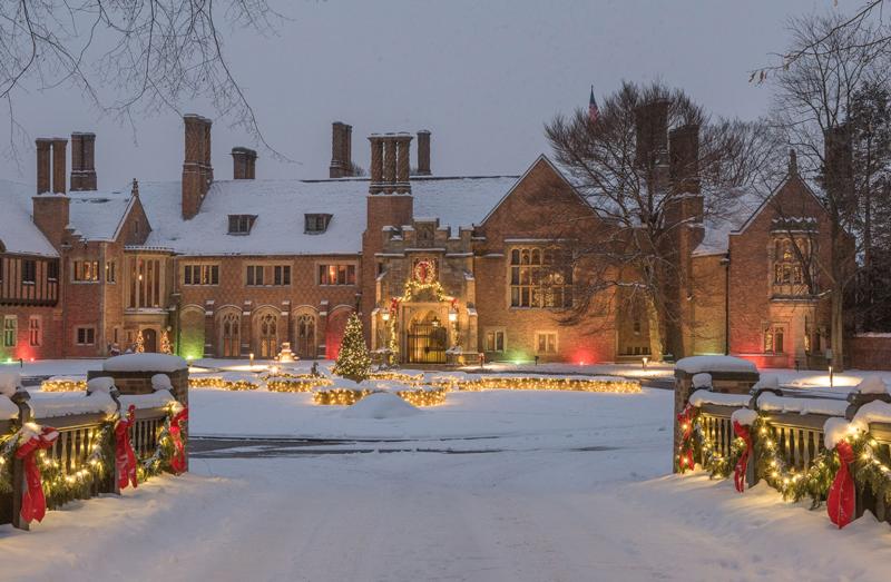 Meadow Brook Hall with Christmas lights