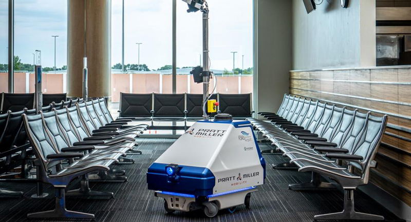 disinfecting robot at Gerald R. Ford International Airport
