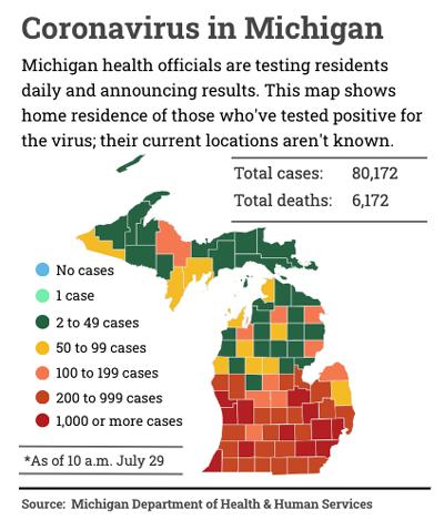 map of Michigan coronavirus cases