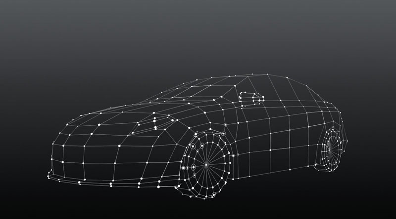 Electronic line drawing of a car