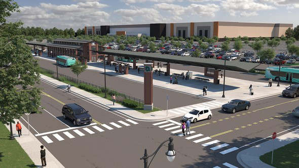 rendering of transit center at Michigan State Fairgrounds