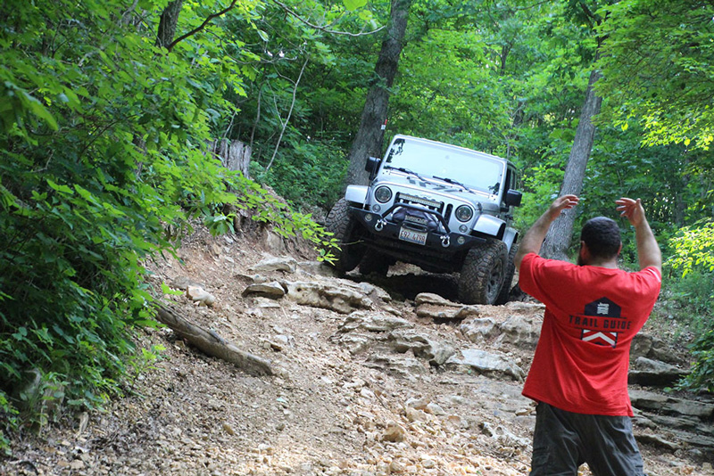 Jeep off-roading with instructor