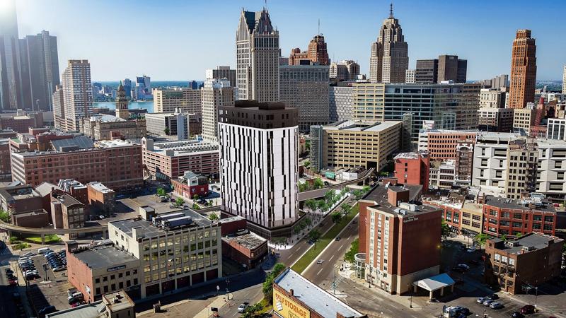 Exchange Detroit rendering of Greektown development