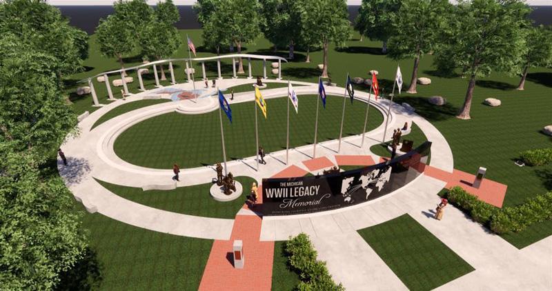 The Michigan WWII Legacy Memorial rendering