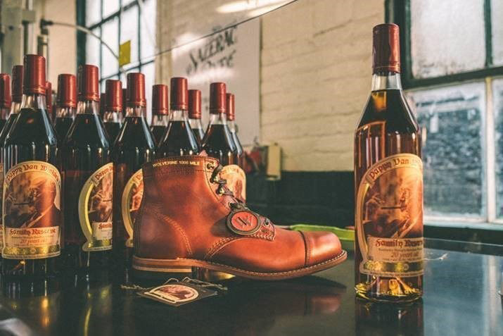 Wolverine and Old Rip Van Winkle Distillery boot with bourbon