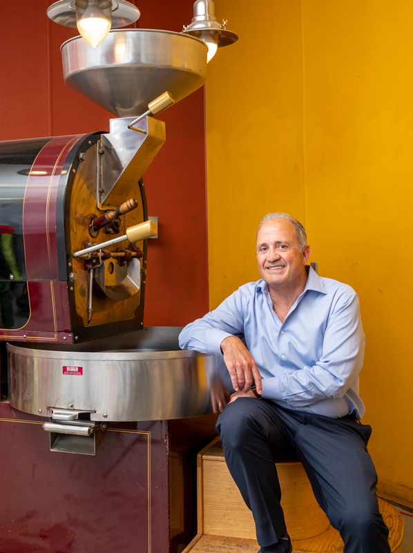 Jim Spear with coffee roasting machine