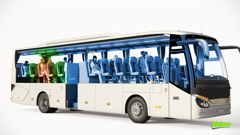 illustration of bus with Valeo air sterilization system