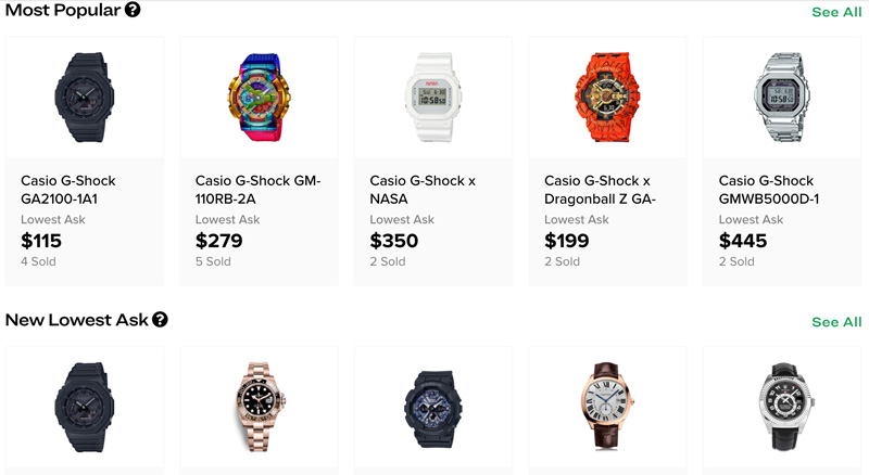 watches on StockX site