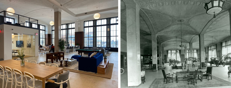 WeWork space and former auto showroom space
