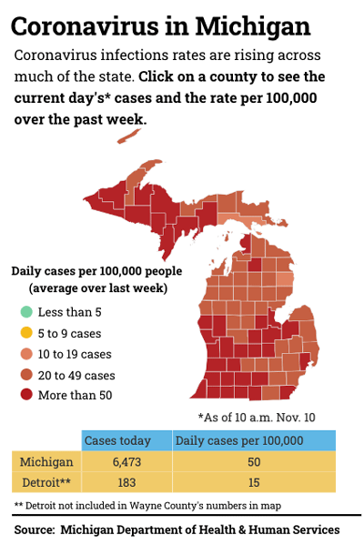 map of coronavirus cases in Michigan by county