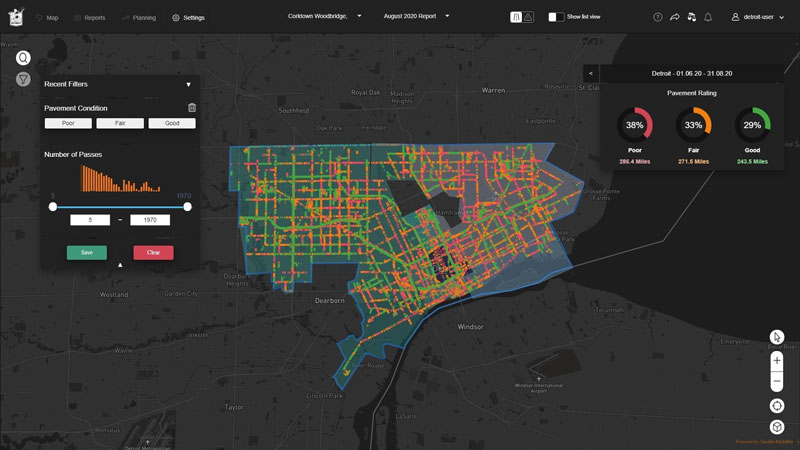 Tactile Mobility map of Detroit roads
