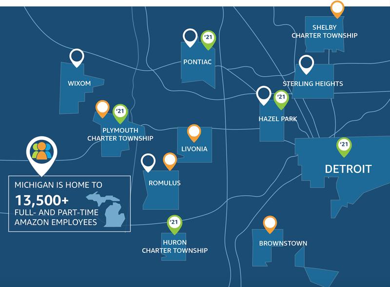 Amazon's metro Detroit facilities