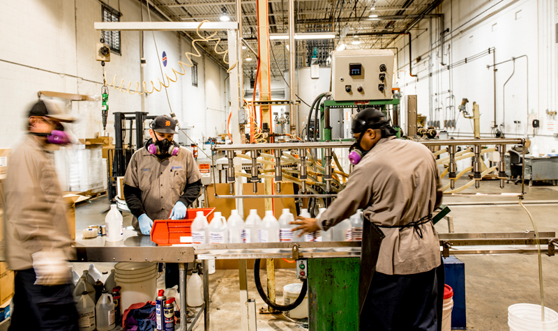 hand sanitizer production at Stone Soap Co.