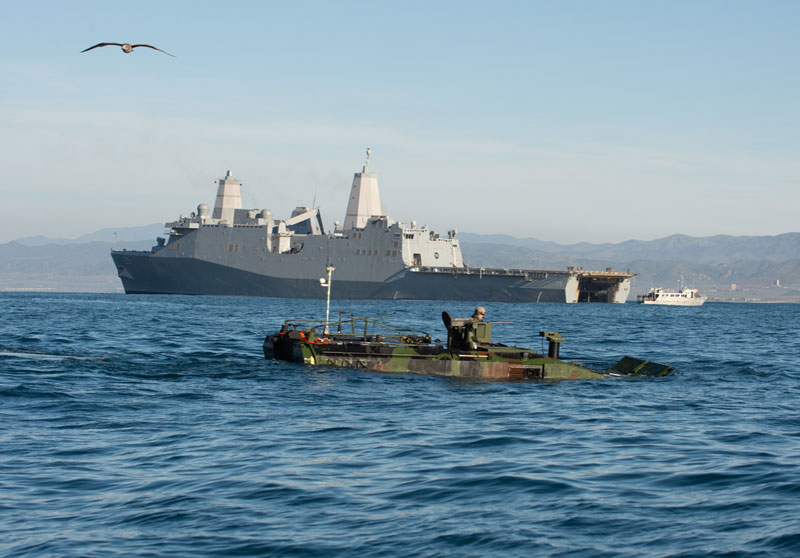 BAE Systems's Amphibious Combat Vehicle in front of ship