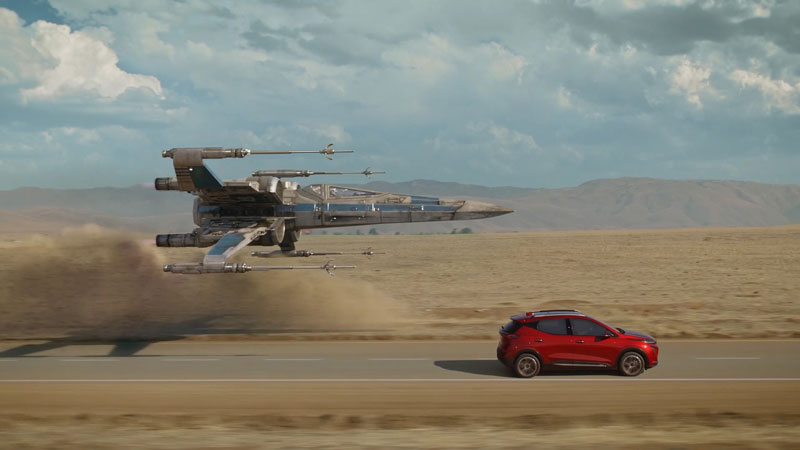 2022 Chevrolet Bolt EUV drives with a Star Wars X-Wing Fighter