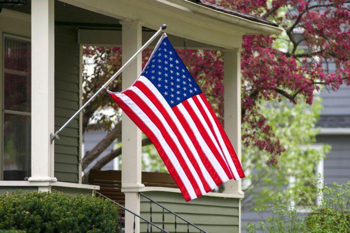 American flag on house