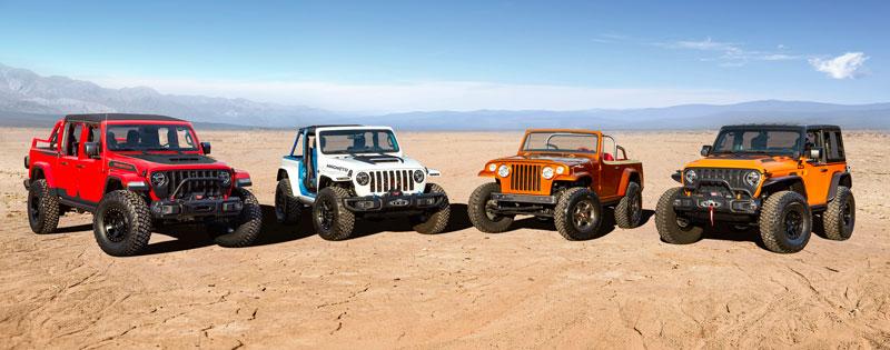 Jeep Red Bare, Jeep Magneto, Jeepster Beach, and Jeep Orange Peelz