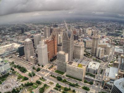 Detroit skyline with rain clouds