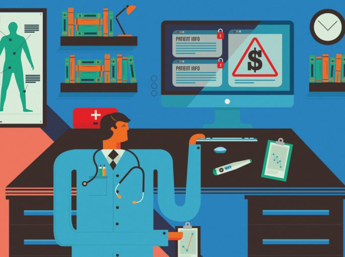 health system cybersecurity hack illustration