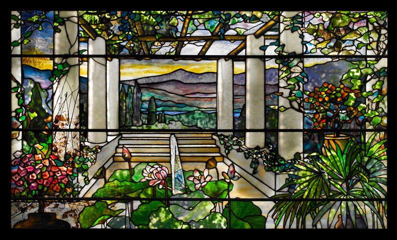 Tiffany stained glass landscape