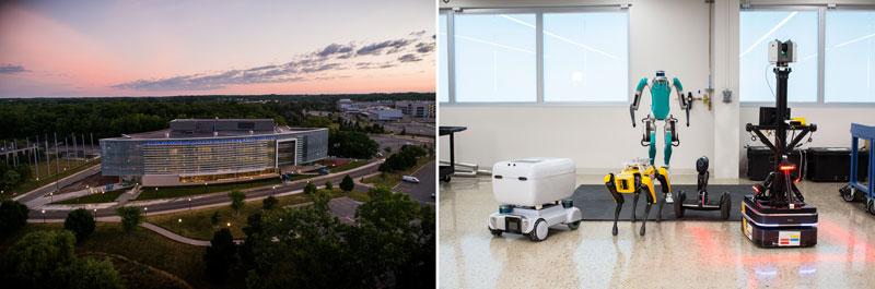 Ford Motor Co. Robotics Building (left), robots (right)